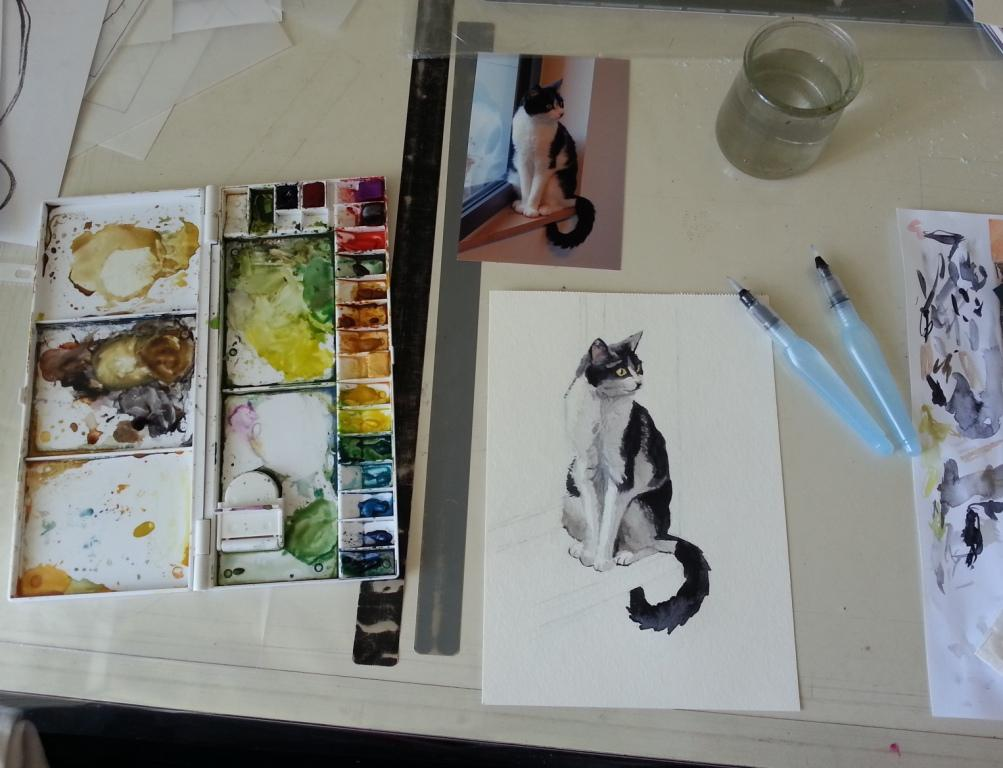 Table atelier aquarelle en cours