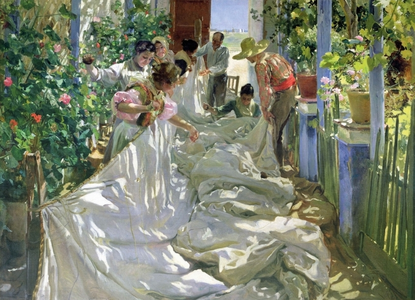 Joaquín Sorolla - Cousant la voile (huile sur toile) - 1896 Venise, Fondazione Musei Civici di Venezia, Museo Correr, Galleria Internazionale d'Arte Moderna di Ca'Pesaro