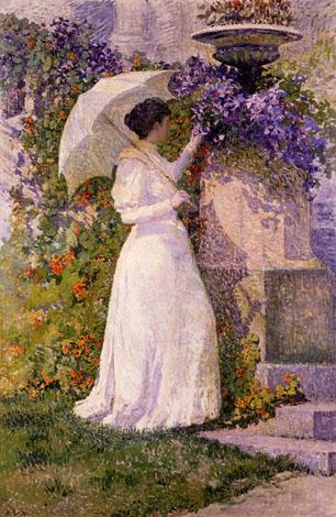 Anna Boch - En juin / Femme au jardin (huile sur toile) - 1894 Propriété de l'Etat belge, en dépôt au Musée des beaux-arts de Charleroi