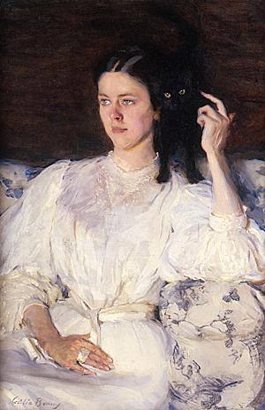 Cécilia Beaux - Sita et Sarita ou jeune fille au chat (détail) (huile sur toile) - 1893-1894 Paris, Musée d'Orsay