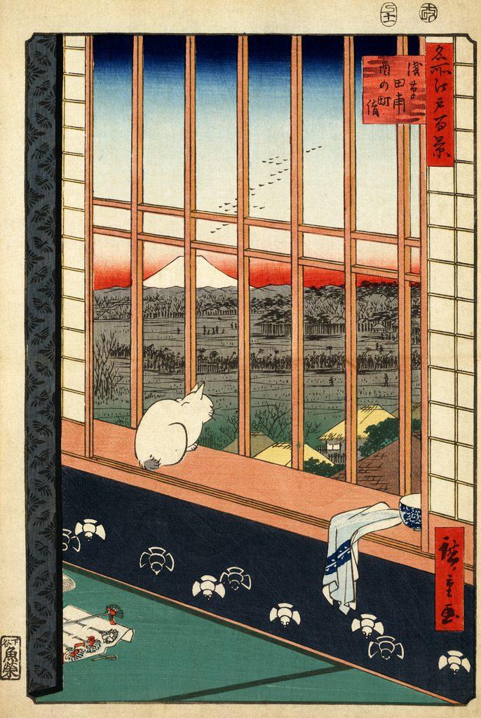 Hiroshige - Le chat à la fenêtre