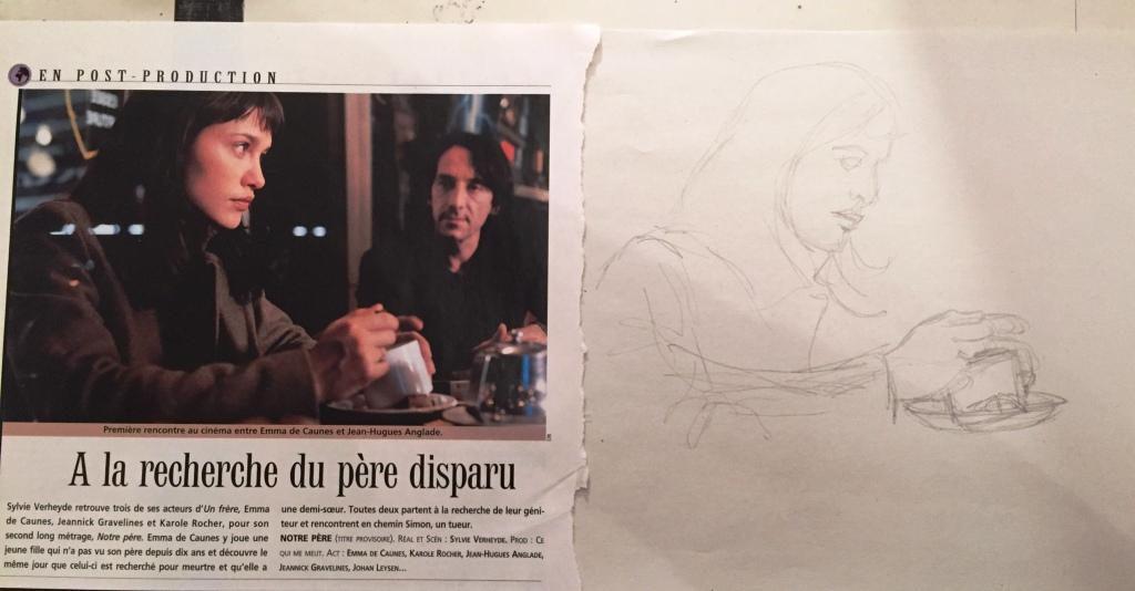 Photo magazine cinéma et esquisse au crayon