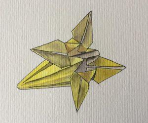 Marie_Grancey_Origami_feutre_noir_et_aquarelle