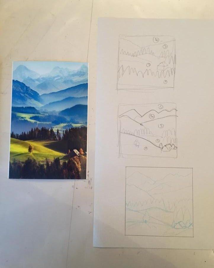 Brouillon pour diorama montagne